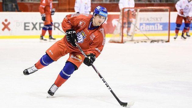 Jakub Flek během tréninku hokejové reprezentace před turnajem Beijer Hockey Games.