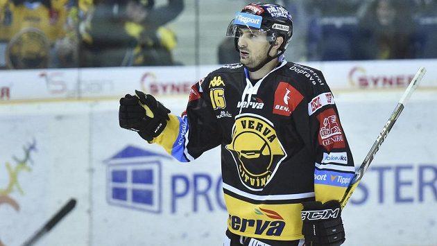 František Lukeš z Litvínova se raduje ze svého prvního gólu proti Liberci.