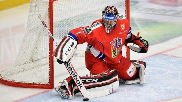 Brankář české reprezentace Jakub Kovář během utkání Euro Hockey Challenge s Norskem