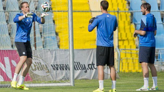 Liberecký gólman Lukáš Hroššo (vlevo) na tréninku. Vpravo přihlíží trenér brankářů Zbyněk Hauzr.