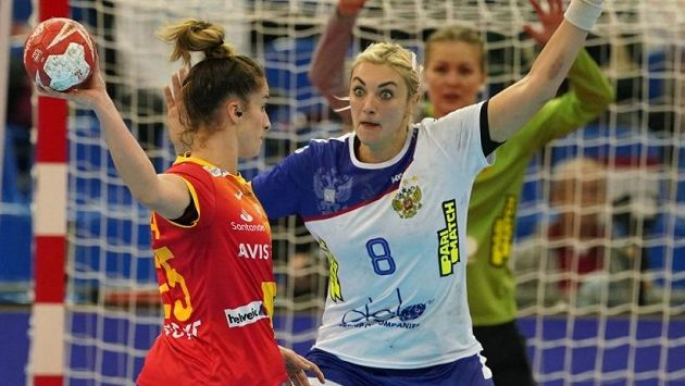 Házenkářky Španělska v zápase proti Rusku