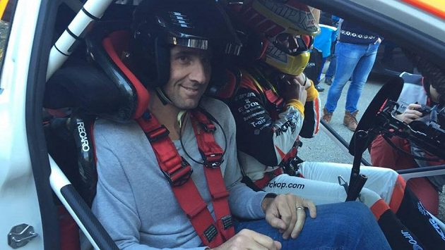 Jan Koller, bývalý fotbalový reprezentant, ve Fordu Fiesta WRC po boku Martina Prokopa.