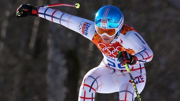Klára Křížová na trati olympijského sjezdu.