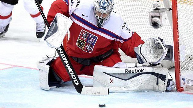 Brankář české hokejové reprezentace Ondřej Pavelec.