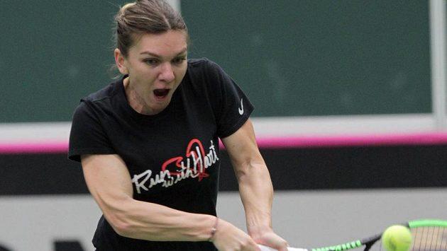 Simona Halepová se připravuje na víkendové utkání Fed Cupu proti Česku.