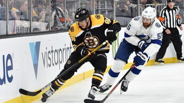 Český útočník Bostonu David Pastrňák (vlevo) se snaží udržet puk v souboji s obráncem Tampy Bay Braydonem Coburnem v zápase NHL.
