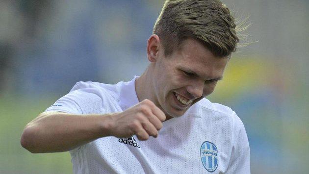 Jakub Nečas z Mladé Boleslavi se raduje z první branky utkání.