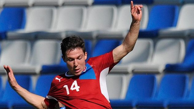 Útočník reprezentační jedenadvacítky Tomáš Přikryl v přípravném utkání proti Mladé Boleslavi.