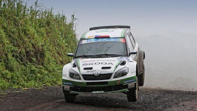 Jan Kopecký se Škodou Fabia S2000 na tratí Rallye Azory 2013.