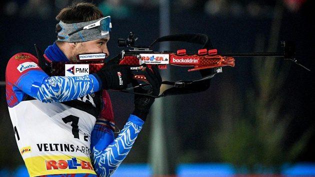 Anton Šipulin při svém posledním vystoupení na biatlonové exhibici loni v Gelsenkirchenu.