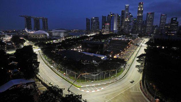 Pohled na okruh Marina Bay před Velkou cenu Singapuru.