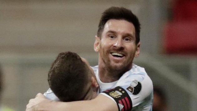 Lionel Messi slaví gól během turnaje Copa America 2021