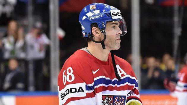 Jaromír Jágr v dresu české hokejové reprezentace.