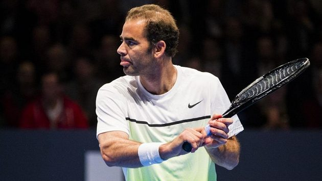 Americký tenista Pete Sampras na exhibici ve Stockholmu.