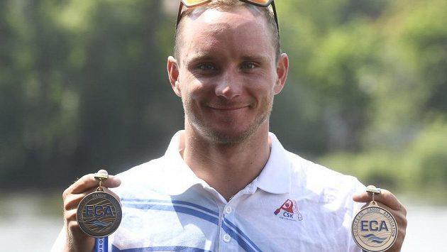 Kajakář Vít Přindiš se zlaty z hlídek a individuálního závodu na mistrovství Evropy v Pau.
