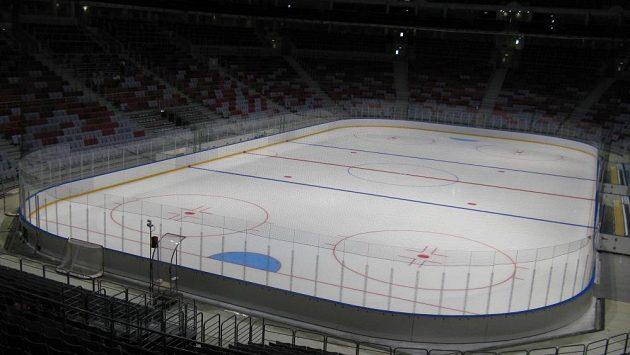 Interiér hokejové Balšoj areny v Soči.