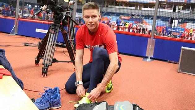 Čtvrtkař Pavel Maslák při tréninku v bělehradské Kombank Areně.