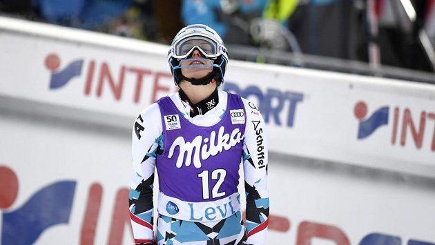 Rakušanka Carmen Thalmannová při slalomu v Levi.