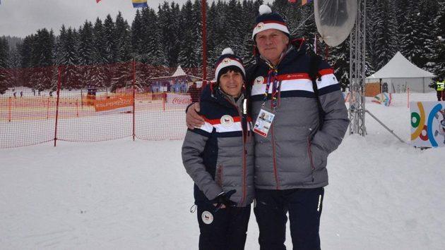 Květa Pecková-Jeriová se svým manželem Zdeňkem na Evropském olympijském festivalu mládeže v Sarajevu.
