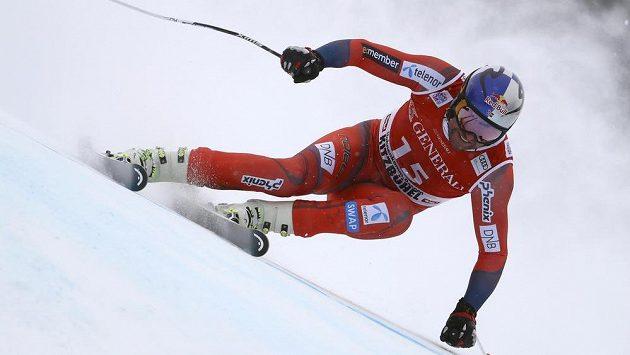 Nor Aksel Lund Svindal při super G v Kitzbühelu.