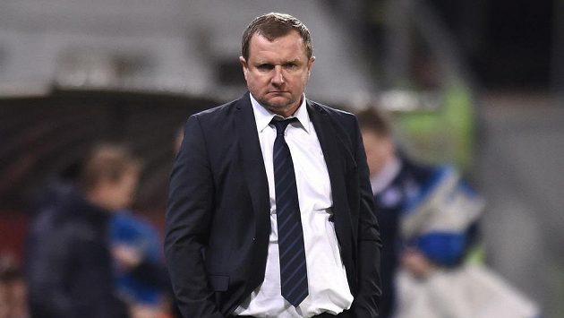 Trenér české reprezentace Pavel Vrba během utkání proti Islandu v Plzni.
