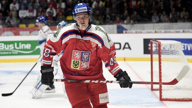 Tomáš Hertl v utkání s Finskem.