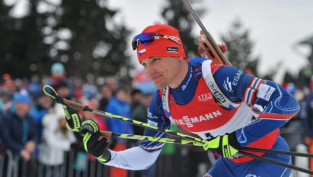 Michal Krčmář při biatlonové exhibici v jabloneckých Břízkách.