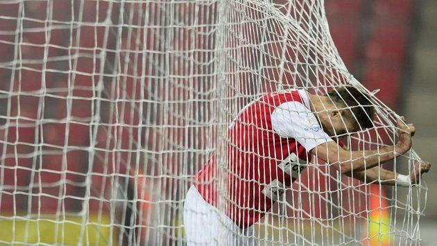 Útočník Slavie Milan Škoda lituje promarněné šance v zápase proti Spartě.