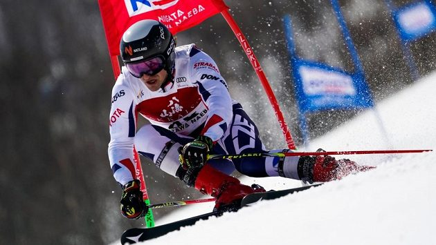 Kryštof Krýzl během obřího slalomu v japonské Naebě.