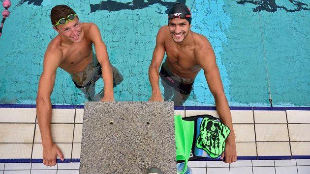 Dvojnásobný olympijský vítěz a mistr světa Usáma Mellúlí (vpravo) z Tuniska a český talent Jan Micka spři tréninku v Praze-Podolí.