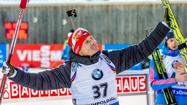 Spokojený Ondřej Moravec, který v individuálním závodě neminul ani jeden terč.