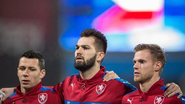 Čeští fotbaloví reprezentanti před přátelským zápasem s Dánskem.