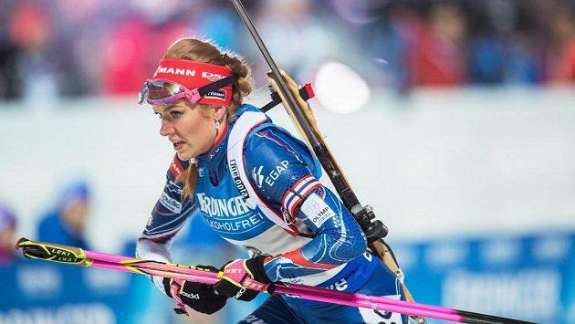 Gabriela Koukalová během sprintu žen na 7,5 km v Novém Městě na Moravě.
