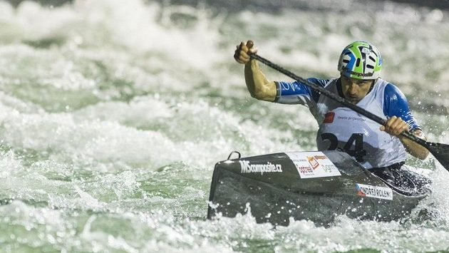 Český kanoista Ondřej Rolenc na mistrovství Evropy ve sjezdu na divoké vodě v Banja Luce.