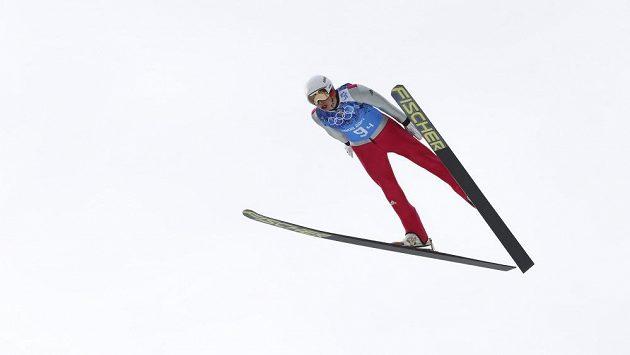 Německý sdruženář Eric Frenzel v závodu družstev na olympiádě v Soči.