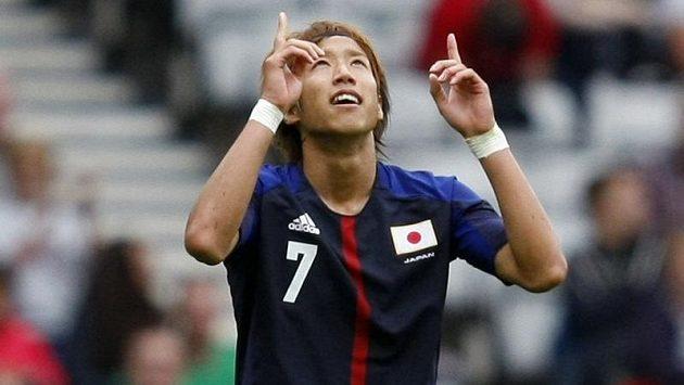 Japonec Yuki Otsu slaví gól proti Španělsku na olympiádě v Londýně.