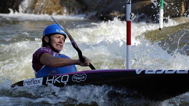 Štěpánka Hilgertová během semifinále na mistrovství světa v Deep Creeku.