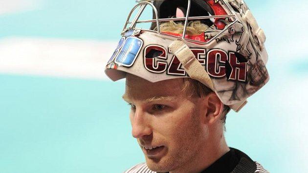 Florbalový brankář David Rytych a jeho maska na mistrovství světa.
