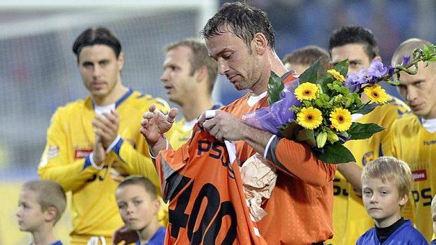 Brankář Jaromír Blažek z Jihlavy oslavil jubilejní 400. ligový zápas v kariéře.