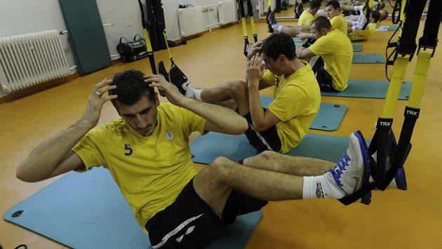 Po domácí přípravě odlétají fotbalisté Teplice za teplem na Kypr. Na snímku Admir Ljevakovič a jeho spoluhráči v tělocvičně.