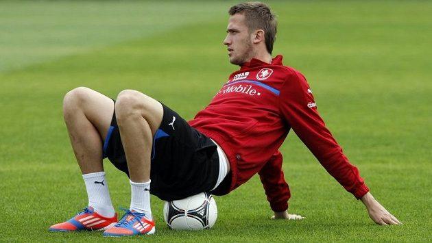 Tomáš Pekhart na tréninku české fotbalové reprezentace
