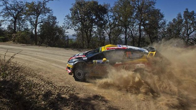 Martin Prokop a Jan Tománek na trati Mexické rallye.