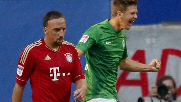 Franck Ribéry z Bayernu Mnichov (vlevo) při přípravném utkání s Werderem Brémy.