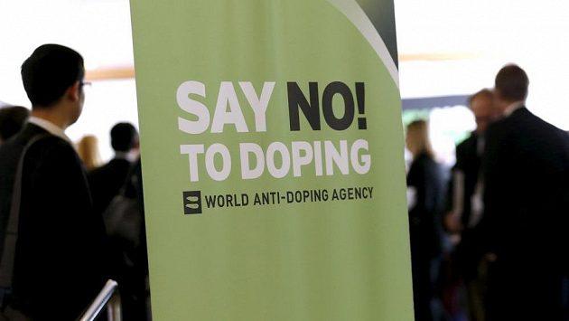 Plakát v sídle Světové antidopingové agentury (WADA).
