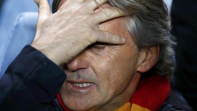 Trenér Galatasaraye Roberto Mancini v utkání proti Chelsea.