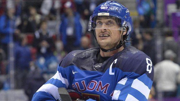 Finský blesk Teemu Selänne na olympijském turnaji v Soči.