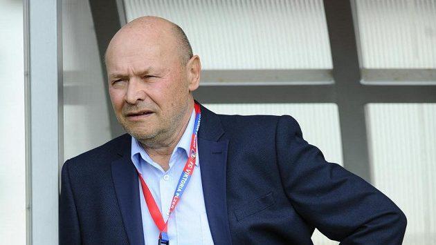Trenér Plzně Miroslav Koubek sleduje počínání svých svěřenců v utkání s Brnem.