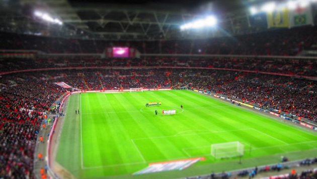 Londýnský stadión Wembley během přátelského utkání Albionu s Brazílií.