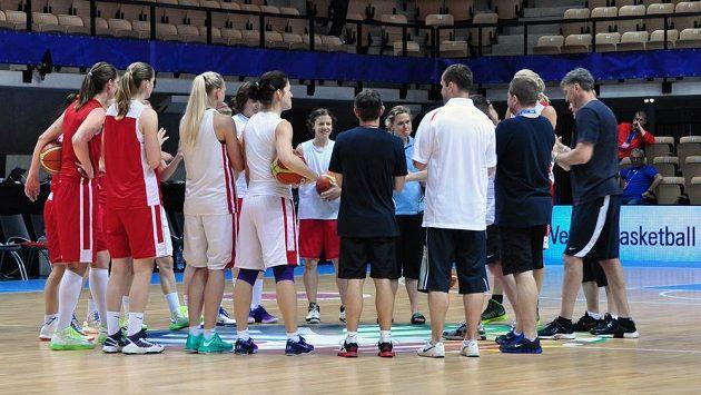 Trénink českých basketbalistek na mistrovství Evropy