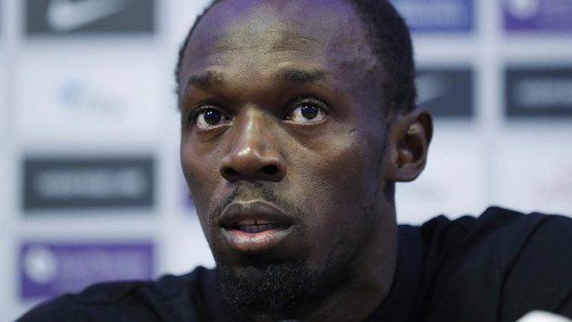 Jamajský sprinter Usain Bolt během čtvrteční tiskové konference v Londýně.
